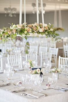 Create Beautiful Air Space with Hanging Floral Wedding Ideas - wedding reception idea; Photography: Fiona Clair | Flowers & Decor: Talloula