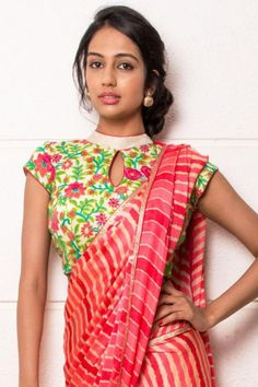 Floral blouse for saree in cream, green and pink