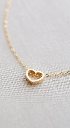 Gold Heart Outline Necklace