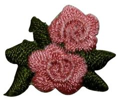 """[Single Count] Custom and Unique (1"""" by 3/4"""" Inches) Floral Gardens Small Miniature Pair of Fully Bloomed Roses Iron On Embroidered Applique Patch {Pink and Green Colors} mySimple Products http://www.amazon.com/dp/B014TZ7SR4/ref=cm_sw_r_pi_dp_RHcKwb18Q8GXS"""