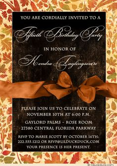 Beautiful Leaves Woman Birthday Invitation - Fall 50th Party Wording