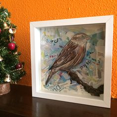 """PHOTO SENT BY THE LOVELY OWNER OF OUR """"SPARROW"""" made in 2014  / collage / paper on cardboard / anti-uv protection / framed 25x25cm/ ©Philippe Patricio 2014 / all rights reserved"""