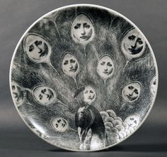 A Set of Six Piero Fornasetti Tema E Variazioni Plates | From a unique collection of antique and modern dinner plates at http://www.1stdibs.com/furniture/dining-entertaining/dinner-plates/