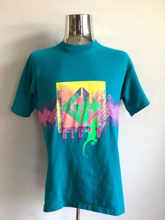 Vintage Men's 80's Gecko T Shirt, Teal, Neon, Short Sleeve (L) by Freshandswanky on Etsy
