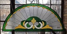 Half Moon Green and Yellow Restored Transom Stained Glass Window 3525 | eBay