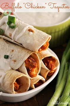 "Buffalo ""Chicken"" Taquitos ~ Crispy Baked Taquitos Dusted in Sea Salt and Stuffed with Buffalo Sauce, Cheese, Green Onions & Vegetarian Chicken that will Fool even the Biggest Meat Eaters! on MyRecipeMagic.com"