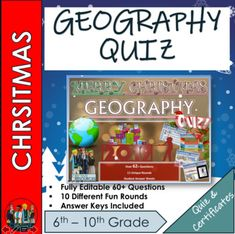 End of Term Geography Christmas Quiz 2019 - 60+ Questions in 10 varied topic. Every round is completely different and not just your boring Q and A style but instead each round tests a different type of skill. (Guess the Present, The Emoji Round, Where is Santa?, Christmas Crackers, Spot the Differen... Emoji Christmas, Christmas Quiz, Santa Christmas, Christmas Themes, Types Of Learners, Geography Activities, End Of Term, Christmas Crackers, Teaching Resources