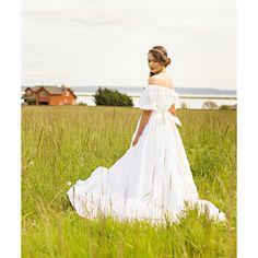 Cotton Boho Wedding Dress, Off Shoulder, Sheer Cotton, KATRINA, Eyelet... ($700) via Polyvore featuring dresses and wedding dresses