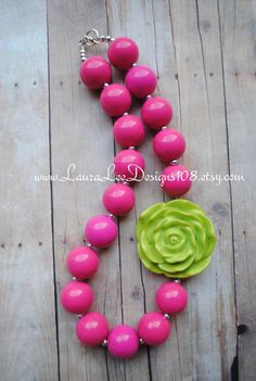 Hot Pink with Lime Green Flower Bubblegum by LauraLeeDesigns108, $9.99