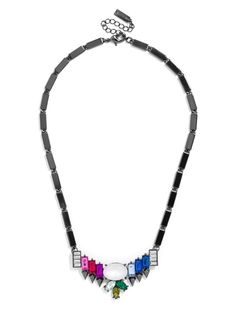 A cool color spectrum accents this futuristic collar, accented with edgy hematite hardware for toughness.%0D%0A