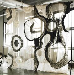 "from couture textile designer Maki Yamamoto's ""Fabric Jewels Collection"". abstract knitted and woven chiffon panels, great designer room divider like this textile art installation Textile Texture, Textile Fiber Art, Textile Artists, Creative Textiles, Panel Art, Installation Art, Surface Design, Contemporary Art, Abstract"