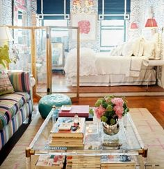 Color, color, color! And the bed on a platform helps to break up the room, too. Small Space Living, Small Spaces, Living Spaces, Living Room, Kitchen Living, Apartment Design, Apartment Living, Apartment Layout, Apartment Ideas