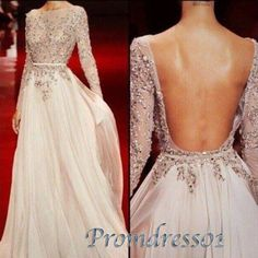 Modest prom dress, backless ball gown, sexy 3/4 sleeves applique long evening dress http://www.promdress01.com/#!product/prd1/4289377365/sexy-backless-3-4-sleeves-applique-long-prom-dress #promdress