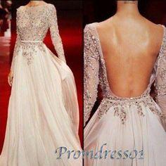 Modest prom dress, backless ball gown, sexy 3/4 sleeves applique long evening dress http://www.promdress01.com/#!product/prd1/4289377365/sexy-backless-3-4-sleeves-applique-long-prom-dress #promdress