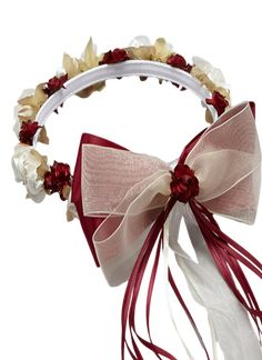 Burgundy Floral Crown Wreath Handmade with Silk Flowers, Satin Ribbons & Bows (Girls)