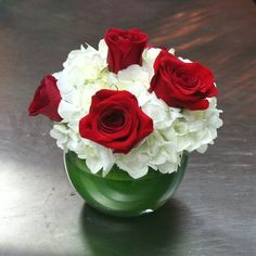 Red Roses Wedding Centerpieces | White Hydrangea and Red Roses Centerpiece - W Flowers Ottawa