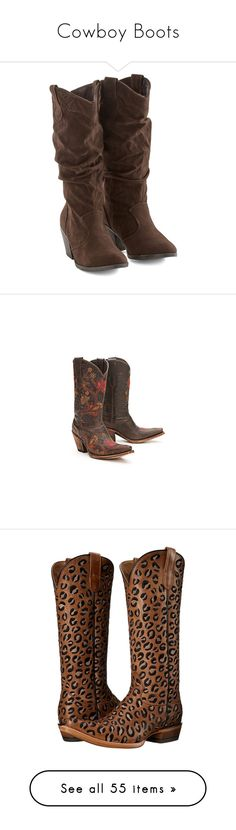 """""""Cowboy Boots"""" by jacci0528 ❤ liked on Polyvore featuring shoes, boots, boot - bootie, brown, heeled boot, short cowgirl boots, brown boots, heeled cowboy boots, short boots and ankle boots"""