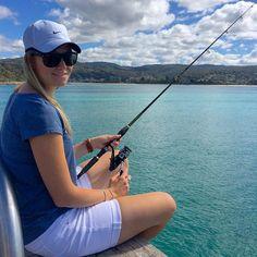 My better half fishing the local jetty in Lorne Australia #fishing #jetty #beach #shimano #australia #lorne #victoria #australia #fishinggirls #girlsfishing #tourismvictoria #fish #pier #scenery #vscocam #sea #ocean #nike #baitrunner #shimanofishing by fishersanonymous http://ift.tt/1IIGiLS