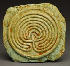 Minoan Labyrinth Wall Plaque -   This seven-circuit labyrinth dates back to 1200 BC in Greece.   A single, continuous pathway winds into its center. This labyrinth seems to have a magical ability to cross cultures and times. It symbolizes the cycle of life, death and rebirth.
