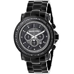 jojo watches king diamond and rodeo mens black diamond watch by luxurman 3ct chronograph oversized