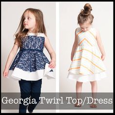 **PDF Sewing Pattern NOT Finished Dress**  The Georgia twirl is the perfect twirling top or dress. Full circle skirt, V back, and a bodice the