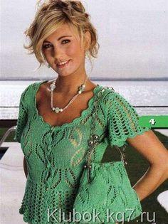 Зеленая ажурная блузка (кофточка) и сумка на лето. | Клубок