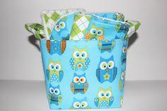 Baby boy gift basket, Stacked Owl and Argyle, Burp cloth set, Wash cloth set, bib and  fabric storage bucket.. $32.75, via Etsy.