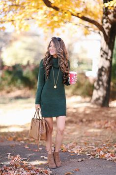 thanksgiving thanksgiving outfit 7 Ways To Wear Green On St. Green Dress Outfit, Green Sweater Dress, Sweater Dress Outfit, Dress Outfits, Sweater Dresses For Women, Wearing Dresses, Cowl Neck Sweater Dress, Green Dress Casual, Party Outfits