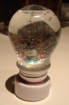 upcycled light bulb snow globe recycle reuse light bulbs