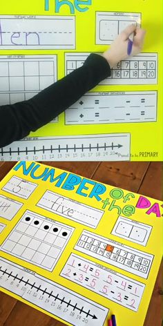 Try the number of the day routine in your Kindergarten and first grade classroom to build number sense and math fluency. Teach kids using the FREE poster templates to practice numerals, number words… Kindergarten Math Activities, Preschool Math, Math Resources, Teaching Math, Math Math, Kindergarten Calendar Math, Number Sense Kindergarten, Kindergarten Posters, Ten Frame Activities