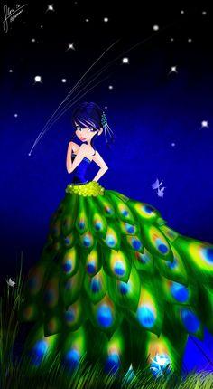 .Musa's new peacock dress. It better not atractt peacocks