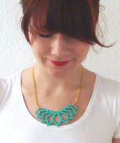 TURQUOiS STATEMENT NECKLACE, geometrical pendant, wood pendant, geometric necklace, statement necklace, laser cutted jewelry