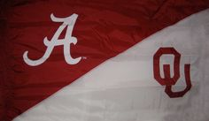 Alabama and Oklahoma House Divided Flags, Boomer Sooner, University Of Alabama, Crimson Tide, Oklahoma, Hand Sewing, Divider, Roll Tide, Spaces