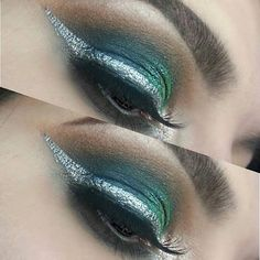 GUYS I CANT 😭💙💚 I used the @urbandecaycosmetics Alice in Wonderland palette, @colourpopcosmetics super shock shadow in cusp and @nyxcosmetics_canada metallic and crystal liners to create this gorgeous look! Hope you like it too! Goodnight 💋✨ Xx • • • •…