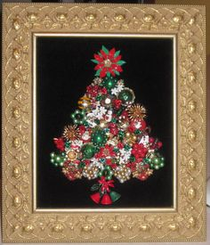 I know it's past Christmas but this would be a great project to get started on for next year. We've got lots of great jewelry pieces at Curiosity Shop, Irving TX that could be used for this. www.curiosityshoptx.com
