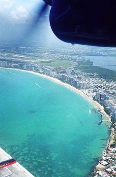 Aerial view of a beach in San Juan, Puerto Rico