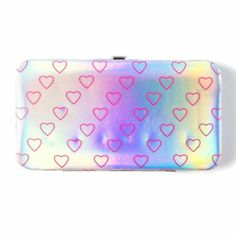 Silver Holographic Hearts Hardcase Wallet