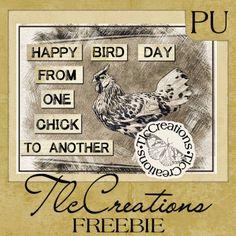 'Happy Bird Day' Chicken Digi - Create with TLC: Wednesday Word Art Freebie........... #Chicken #Birthday