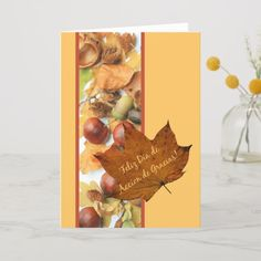 Shop spanish accion de gracias maple leaf thanksgiving holiday card created by studioportosabbia. Thanksgiving Greeting Cards, Family Thanksgiving, Fall Cards, Holiday Cards, Christmas Cards, Card Making, Law, Brother, Daughter