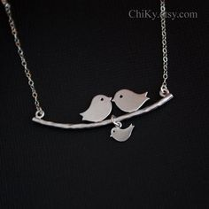 Kissing birds on branch necklace,no initial, STERLING SILVER - family necklace, new baby, new mom, bird jewelry, mothers day gifts. $29.00, via Etsy.