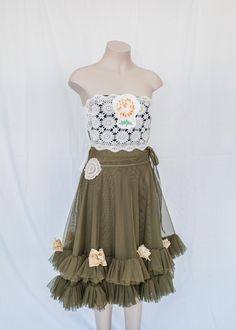 A beautiful dress created with op shop items.