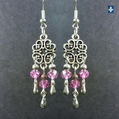 ♥ Elegant Half Metallic Dark Pink Crystal Plated Silver Pendant Earrings