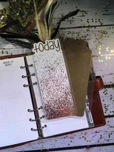 Today/Month Rose Gold Splatter Planner Tab for Personal Filofax/Personal Color Crush/Louis Vuitton MM/Medium Kikki-K/Kate Spade Wellesley