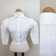 1940s Vintage Cardigan / 40s sweater / Cream Knit / Bishop | Etsy Bishop Sleeve, Vintage Sweaters, Grosgrain, 1940s, Turtle Neck, Cream, Knitting, Sleeves, Shopping