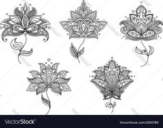 Vector image of Black and white floral motifs of persian style Vector Image, includes black, white, background, wallpaper & pattern. Illustrator (.ai), EPS, PDF and JPG image formats.