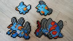 258 Gobou / Mudkip 259 Flobio / Marshtomp 260 Laggron / Swampert 260M Méga-Laggron / Mega Swampert  - Perler Beads by Vicsene