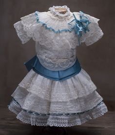 "Antique Lace dress for  Jumeau Bru Steiner Eden bebe doll about 19-21"" (48-53 cm)"