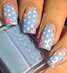 20+ Vintage Floral Nail Art Design Ideas #nailart