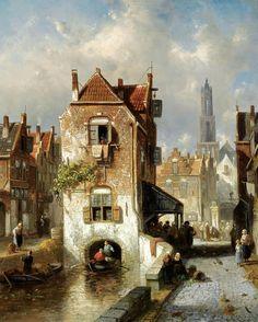 Charles Henri Joseph Leickert (1818-1907), Une Vue d'Utrecht, Hollande.