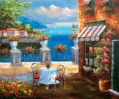 Find More Painting & Calligraphy Information about Modern Mediterranean Landscape Decorative Art Oil Painting Wall Painting on Canvas Cafe Italy 100% Hand Painted Artwork,High Quality painting london,China painting a latex mask Suppliers, Cheap painting pumpkin from The Arts Road on Aliexpress.com
